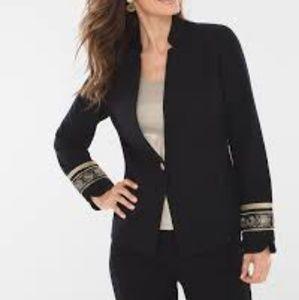 CHICOS Black Novelty Cuff Jacket
